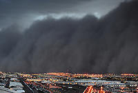 Jul. 5, 2011; Phoenix, AZ, USA; A dust storm converges on downtown Phoenix the home to the 2011 MLB All Star Game at Chase Field. Jul. 5, 2011; Phoenix, AZ, USA; A dust storm converges on Chase Field home of the 2011 All Star Game. Apr. 26, 2011; Phoenix, AZ, USA; A dust storm converges on downtown Phoenix the home to the 2011 MLB All Star Game at Chase Field. haboob sandstorm dust desert monsoon storm chaser chasing city dusk Arizona stadium sports baseball Diamondbacks airport Sky Harbor