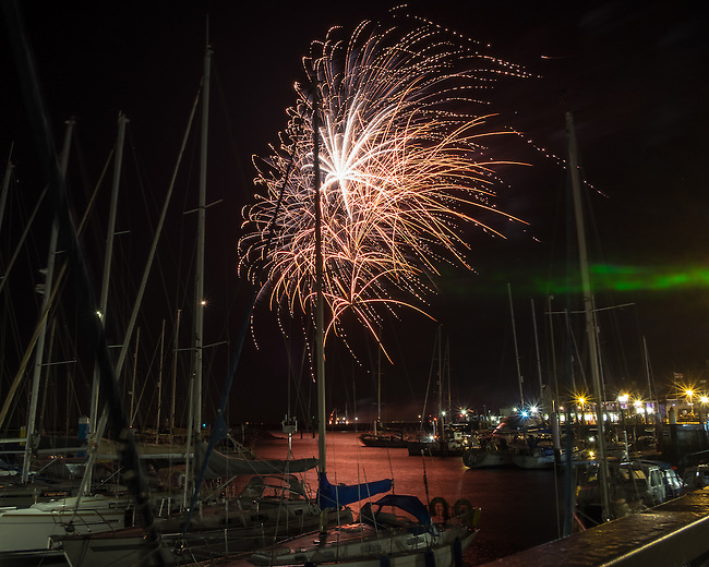 Fireworks over Yarmouth Harbour