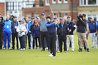Euan Walker (GB&I) on the 1st during the Foursomes at the Walker Cup, Royal Liverpool Golf CLub, Hoylake, Cheshire, England. 07/09/2019.<br /> Picture Thos Caffrey / Golffile.ie<br /> <br /> All photo usage must carry mandatory copyright credit (© Golffile | Thos Caffrey)