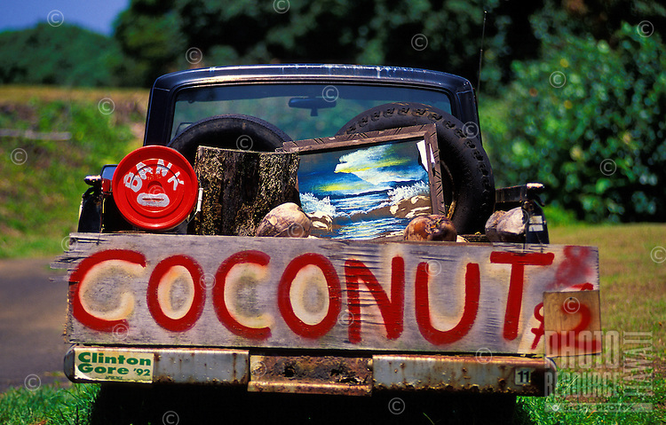Coconuts for sale in the bed of an old truck at one of the old local venues along the Hana Highway that operated on the honor system. These are all but gone now.
