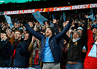 1st March 2020; Wembley Stadium, London, England; Carabao Cup Final, League Cup, Aston Villa versus Manchester City; Manchester City fans celebrate after the final whistle