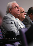 Storey County officials Lance Gilman and Pat Whitten listen to a committee hearing at the Legislative Building, in Carson City, Nev., on Thursday, Feb. 19, 2015. <br /> Photo by Cathleen Allison