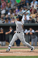 Second baseman Oswaldo Cabrera (10) of the Charleston RiverDogs bats in a game against the Columbia Fireflies on Friday, June 9, 2017, at Spirit Communications Park in Columbia, South Carolina. Columbia won, 3-1. (Tom Priddy/Four Seam Images)