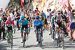 Rigoberto Uran EF-Drapac-Cannondale, Miguel Angel Lopez Moreno Astana Pro Team, Nairo Quintana (COL) Movistar Team and Wilco Kelderman (NED) Team Sunweb on the final climb during Stage 13 of the La Vuelta 2018, running 174.8km from Candas, Carreno to Valle de Sabero, La Camperona, Spain. 7th September 2018.<br /> Picture: Unipublic/Photogomezsport | Cyclefile<br /> <br /> <br /> All photos usage must carry mandatory copyright credit (&copy; Cyclefile | Unipublic/Photogomezsport)