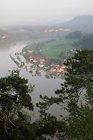 Hochwasser an der Elbe, Sommer 2013, Elbsandsteingebirge, Elbsandstein-Gebirge. floodwater, floodwaters, flood water, flood waters, high-water