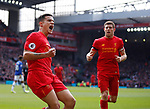 Philippe Coutinho of Liverpool celebrates his goal during the English Premier League match at Anfield Stadium, Liverpool. Picture date: April 1st 2017. Pic credit should read: Simon Bellis/Sportimage