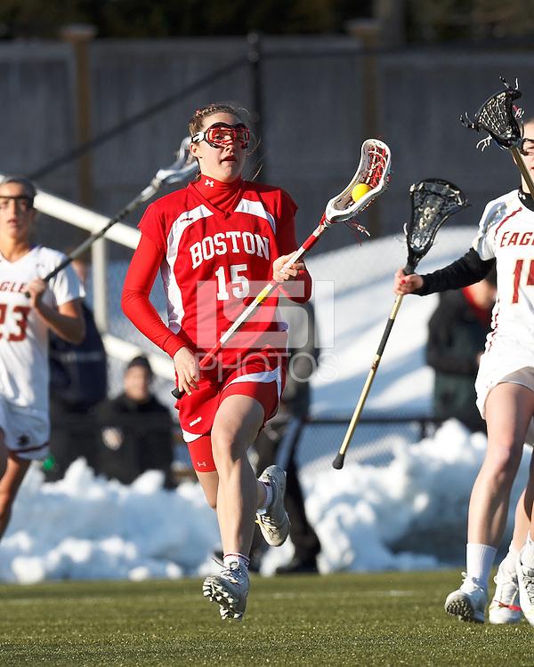 Boston University midfielder Ally Adams (15)..Boston College (white) defeated Boston University (red), 12-9, on the Newton Campus Lacrosse Field at Boston College, on March 20, 2013.