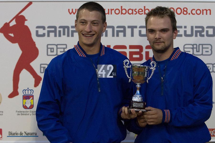 BASEBALL - EUROPEAN UNDER -21 CHAMPIONSHIP - PAMPELUNE (ESP) - 03 TO 07/09/2008 - PHOTO : CHRISTOPHE ELISE .CLOSING CEREMONY -  TEAM SLOVAKIA, UNIDENTIFIED PLAYERS