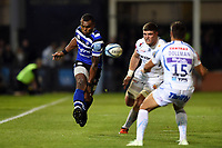 Semesa Rokoduguni of Bath Rugby puts boot to ball. Gallagher Premiership match, between Bath Rugby and Exeter Chiefs on October 5, 2018 at the Recreation Ground in Bath, England. Photo by: Patrick Khachfe / Onside Images