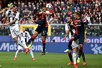 Mario Mandzukic of Juventus, Cristian Romero of Genoa, Martin Caceres of Juventus, Leonardo Bonucci of Juventus and Domenico Criscito of Genoa compete for the ball during the Serie A 2018/2019 football match between Genoa CFC and Juventus FC at stadio Luigi Ferraris, Genova, March 17, 2019 <br /> Photo Andrea Staccioli / Insidefoto