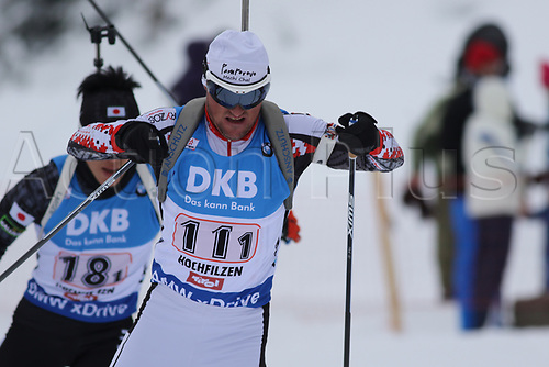 10th December 2017, Biathlon Centre, Hochfilzen, Austria; IBU Biathlon World Cup; Michail Kletcherov during the mens relay competition