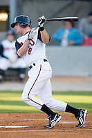 Zach Kozart #8 of the Carolina Mudcats follows through on his swing versus the Jacksonville Suns at Five County Stadium May 19, 2009 in Zebulon, North Carolina. (Photo by Brian Westerholt / Four Seam Images)