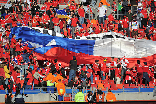 21 06 2010 supporters of Chile Wave A National Flag Prior to The 2010 World Cup Group H Soccer Match between Chile and Switzerland AT Nelson Mandela Bay Stage in Port Elizabeth South Africa June 21 2010