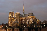 France, Paris, Ile de la Cité, Notre Dame de Paris, 1163 - 1345, initiated by the bishop Maurice de Sully, view from Quai de Montebello Picture by Manuel Cohen