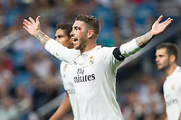 Sergio Ramos of Real Madrid during the match between Real Madrid v Atletico Madrid of LaLiga, date 7, 2018-2019 season. Santiago Bernabéu Stadium. Madrid, Spain - 29 SEP 2018.