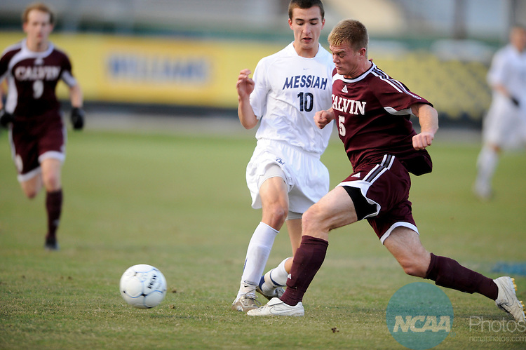 05 DEC 2009:  Joshua Wood (10) of Messiah College dribbles past Lucas Wilgenburg (5) of Calvin College during the Division III Men's Soccer Championship held at Blossom Soccer Stadium hosted by Trinity University in San Antonio, TX. Messiah defeated Calvin 2-0 for the national title.  Brett Wilhelm/NCAA Photos