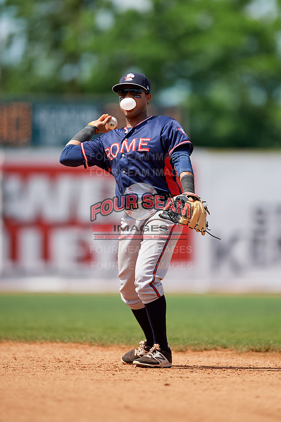 Rome Braves second baseman Luis Mejia (9) throws to first base during a game against the Lexington Legends on May 23, 2018 at Whitaker Bank Ballpark in Lexington, Kentucky.  Rome defeated Lexington 4-1.  (Mike Janes/Four Seam Images)