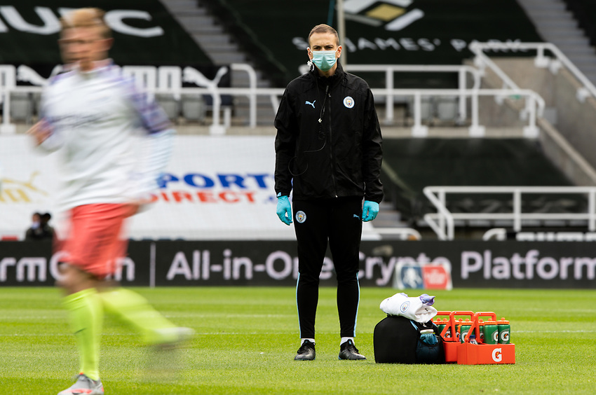 A member of the Manchester City team watches on during the warm up <br /> <br /> Photographer Alex Dodd/CameraSport<br /> <br /> FA Cup Quarter-Final - Newcastle United v Manchester City - Sunday 28th June 2020 - St James' Park - Newcastle<br />  <br /> World Copyright © 2020 CameraSport. All rights reserved. 43 Linden Ave. Countesthorpe. Leicester. England. LE8 5PG - Tel: +44 (0) 116 277 4147 - admin@camerasport.com - www.camerasport.com
