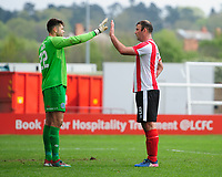 Lincoln City's Matt Rhead, right, attempts to distract Macclesfield Town's Scott Flinders<br /> <br /> Photographer Chris Vaughan/CameraSport<br /> <br /> Vanarama National League - Lincoln City v Macclesfield Town - Saturday 22nd April 2017 - Sincil Bank - Lincoln<br /> <br /> World Copyright &copy; 2017 CameraSport. All rights reserved. 43 Linden Ave. Countesthorpe. Leicester. England. LE8 5PG - Tel: +44 (0) 116 277 4147 - admin@camerasport.com - www.camerasport.com