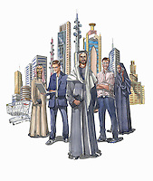 Group of business people standing in front of city skyscrapers