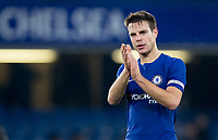 Cesar Azpilicueta of Chelsea applauds the support during the Carabao Cup semi final 1st leg match between Chelsea and Arsenal at Stamford Bridge, London, England on 10 January 2018. Photo by Andy Rowland.