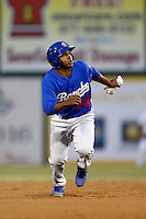 Jonathan Garcia #23 of the Rancho Cucamonga Quakes runs the bases against the Inland Empire 66'ers at San Manuel Stadium on April 24, 2013 in San Bernardino, California. Inland Empire defeated Rancho Cucamonga, 2-1. (Larry Goren/Four Seam Images)