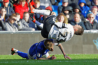 Connor Roberts of Swansea City (TOP) is fouled by Joe Bennett of Cardiff City during the Sky Bet Championship match between Cardiff City and Swansea City at the Cardiff City Stadium, Cardiff, Wales, UK. Sunday 12 January 2020