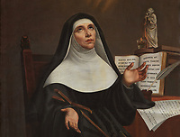 Marie de L'incarnation, detail, the first Ursuline nun to settle in New France, copy of a painting by a nun, 19th century, in the Chapelle des Ursulines, in the Musee des Ursulines, in the Monastere des Ursulines, begun 1699, in Trois-Rivieres, Mauricie, on the Chemin du Roi, Quebec, Canada. The Ursuline nuns arrived in Trois-Rivieres in 1697 to provide the town with a school and a hospital. The Chemin du Roy or King's Highway is a historic road along the Saint Lawrence river built 1731-37, connecting communities between Quebec City and Montreal. Picture by Manuel Cohen