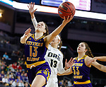 SIOUX FALLS, SD - MARCH 8: Olivia Kaufmann #13 of the Western Illinois Leathernecks goes up for a layup against Rachel Skalnik #13 of the Oral Roberts Golden Eagles at the 2020 Summit League Basketball Championship in Sioux Falls, SD. (Photo by Richard Carlson/Inertia)