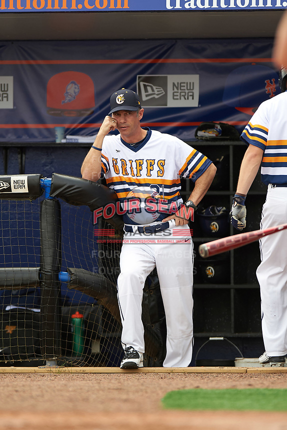 Canisius College Golden Griffins head coach Mike McRae (21) during the first game of a doubleheader against the Michigan Wolverines on February 20, 2016 at Tradition Field in St. Lucie, Florida.  Michigan defeated Canisius 6-2.  (Mike Janes/Four Seam Images)