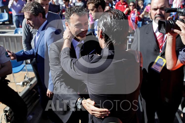 Atletico de Madrid´s coach Diego Simeone and Celta de Vigo´s coach Luis Enrique during La Liga 2013/14 match. October 06, 2013. (ALTERPHOTOS/Victor Blanco)