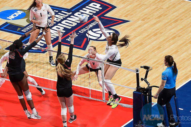 COLUMBUS, OH - DECEMBER 17:  Paulina Prieto Cerame (19) of the University of Texas attempts a kill against Stanford University during the Division I Women's Volleyball Championship held at Nationwide Arena on December 17, 2016 in Columbus, Ohio.  Stanford defeated Texas 3-1 to win the national title. (Photo by Jamie Schwaberow/NCAA Photos via Getty Images)