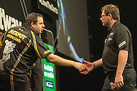 09.04.2015. Sheffield, England. Betway Premier League Darts. Matchday 10. James Wade [ENG] congratulates Adrian Lewis [ENG] after the winning double in their match.