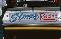 """""""Stoner Racing"""" on the back of a car at the Southern 500 at Darlington Raceway in Darlington SC on September 1, 1985. (Photo by Brian Cleary/www.bcpix.com)"""