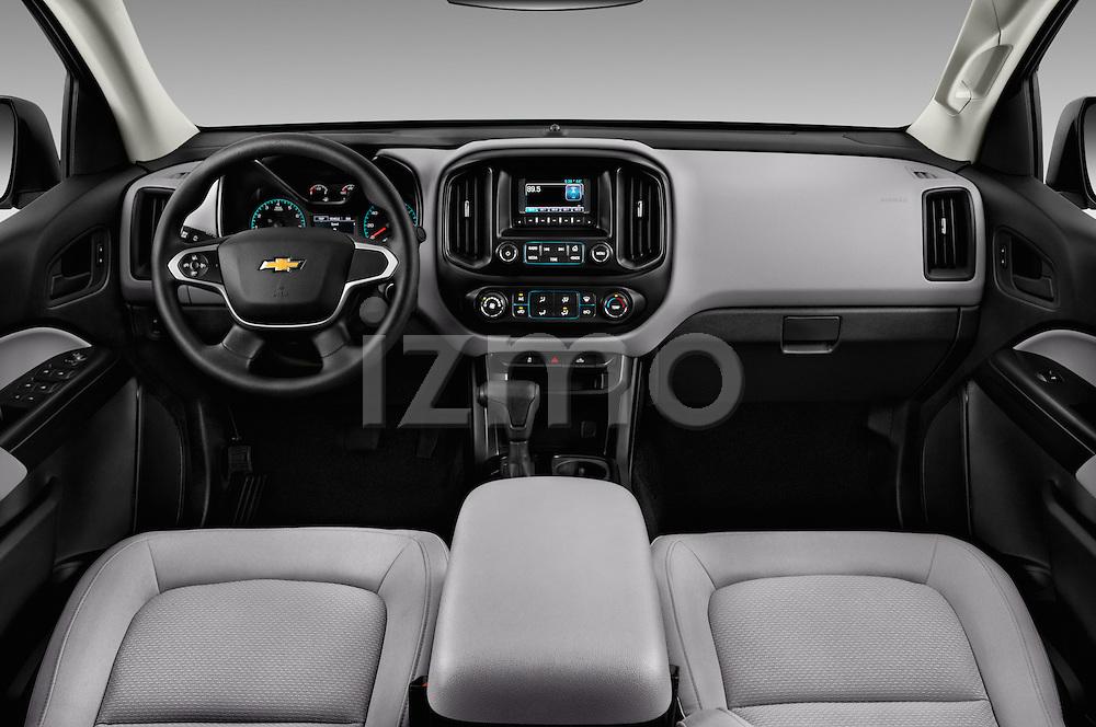 Stock photo of straight dashboard view of 2016 Chevrolet Colorado Work-Truck-Crew 4 Door Pick-up Dashboard