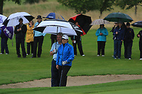 Eilish O'Connell and Martin Darcy (Tullamore) on the 15th green during the Final round of the Irish Mixed Foursomes Leinster Final at Millicent Golf Club, Clane, Co. Kildare. 06/08/2017<br /> Picture: Golffile | Thos Caffrey<br /> <br /> <br /> All photo usage must carry mandatory copyright credit     (&copy; Golffile | Thos Caffrey)
