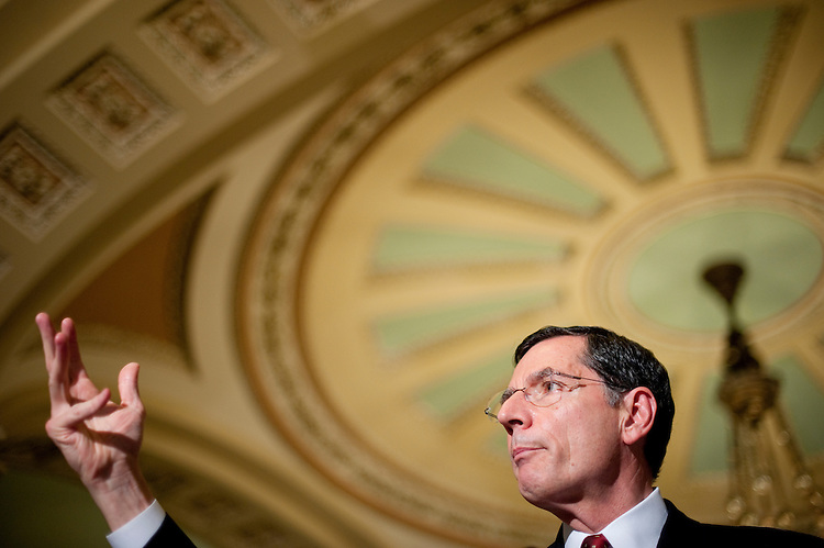 UNITED STATES - JUNE 21: Sen. John Barrasso, R-Wyo., speaks to reporters in the Ohio Clock Corridor following the Senate Republicans' policy lunch on Tuesday, June 21, 2011. (Photo By Bill Clark/Roll Call)