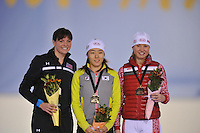 SCHAATSEN: SALT LAKE CITY: Utah Olympic Oval, 16-11-2013, Essent ISU World Cup, podium 500m, Heather Richardson (USA), Sang-Hwa Lee (KOR), Olga  Fatkulina (RUS), ©foto Martin de Jong