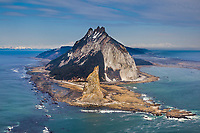 Aerial of Cape St. Elias lighthouse on Kayak Island, Gulf of Alaska, southcentral, Alaska.