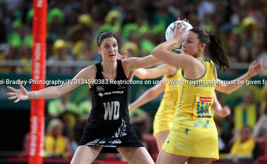 21.10.2012 Silver Ferns Anna Harrison in action during the Silver Ferns v Australia netball test match as part of the Quad Series played in Sydney Australia. Mandatory Photo Credit ©Michael Bradley.