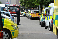 Pictured: Emergency services after  reports of a man covering himself in petrol and barricading himself inside a house after a failed robbery in Ledbury Drive, Newport, Wales, UK. Wednesday 07 June 2017<br /> Re: Officers are investigating two robberies that occurred at stores the area in Newport this morning.<br /> It's believed the same man carried out both robberies. At approximately  8.15am he entered a convenience store on Malpas road and at  8.21am a convenience on Albany Street.  In both incidents he demanded money and there were minor altercations with the staff inside. The offender left without any money. In both incidents two staff members, one in each store, received minor injuries.<br /> In the Albany Street incident a phone and a bank card were stolen from an individual inside the store.<br /> As part of our ongoing enquiries into the robberies officers are now outside a flat in Shrewsbury Close where there are concerns for the safety of a man inside. We believe he is in the property alone at this time and officers are currently outside the flat speaking with the individual.<br /> A cordon is in place around the property and the flat underneath has been evacuated as a precaution.