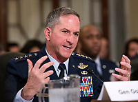 United States Air Force General David L. Goldfein, Chief of Staff of the Air Force gives testimony before the US Senate Committee on Armed Services Subcommittee on Readiness and Management Support during a hearing titled &quot;US Air Force Readiness&quot; on Capitol Hill in Washington, DC on Wednesday, October 10, 2018.<br /> CAP/MPI/RS<br /> &copy;RS/MPI/Capital Pictures