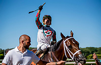 ELMONT, NY - JULY 09: Firenze Fire wins the  Dwyer Stakes Stars and Stripes Racing Festival  at Belmont Park on July 7, 2018 in Elmont, New York. (Photo by Diana Cohen/Eclipse Sportswire/Getty Images)