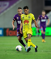 7th February 2020; HBF Park, Perth, Western Australia, Australia; A League Football, Perth Glory versus Wellington Phoenix; Ulysses Alejandro Davila Plascencia of Wellington Phoenix passes the ball forward