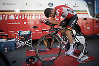 Greg Henderson (NZL/Lotto-Soudal) warming up<br /> <br /> stage 13 (ITT): Bourg-Saint-Andeol - Le Caverne de Pont (37.5km)<br /> 103rd Tour de France 2016