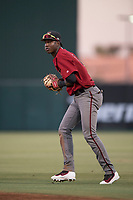 AZL Diamondbacks second baseman Geraldo Perdomo (12) prepares to make a throw to first base during an Arizona League game against the AZL Angels at Tempe Diablo Stadium on June 27, 2018 in Tempe, Arizona. The AZL Angels defeated the AZL Diamondbacks 5-3. (Zachary Lucy/Four Seam Images)
