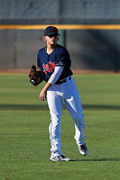 AZL Indians Red Joe Naranjo (24) warms up before an Arizona League game against the AZL Padres 1 on June 23, 2019 at the Cleveland Indians Training Complex in Goodyear, Arizona. AZL Indians Red defeated the AZL Padres 1 3-2. (Zachary Lucy/Four Seam Images)
