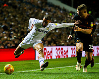 Leeds United's Kemar Roofe holds off the challenge from Hull City's Stephen Kingsley<br /> <br /> Photographer Alex Dodd/CameraSport<br /> <br /> The EFL Sky Bet Championship - Leeds United v Hull City - Saturday 29th December 2018 - Elland Road - Leeds<br /> <br /> World Copyright © 2018 CameraSport. All rights reserved. 43 Linden Ave. Countesthorpe. Leicester. England. LE8 5PG - Tel: +44 (0) 116 277 4147 - admin@camerasport.com - www.camerasport.com