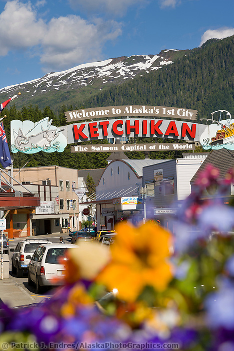 Welcome to Ketchikan sign, downtown, Ketchikan, Alaska.