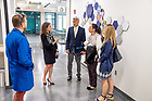 May 21, 2018; Rosângela Moro tours McCourtney Hall with administrators and staff of The Boler-Parseghian Center for Rare & Neglected Diseases at Jordan Hall of Science. (Photo by Matt Cashore/University of Notre Dame)